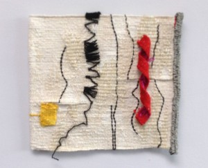 'Ravel and roll' woven tapestry in wool, linen with wire circa 18x20cm